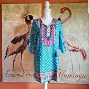 Urban CoCo Turquoise Boho Tunic Dress Cover Up Tie